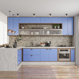 Inspire-se nesta tendência: cozinha azul com decoração moderna e retrô